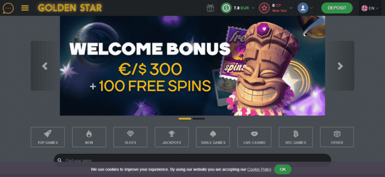 Golden Star Casino 100 Free Spins + 100% Bonus Code