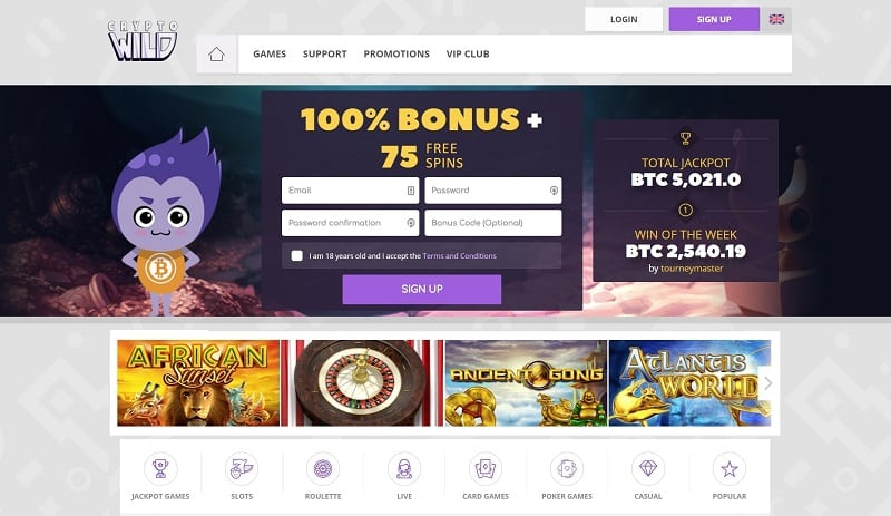 Crypto Wild Casino No Deposit Bonus Codes May 2020