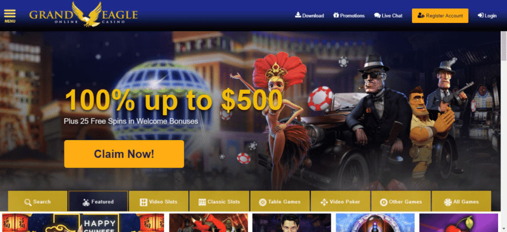 Grand Eagle Casino Free Spins Bonus Code August 2019
