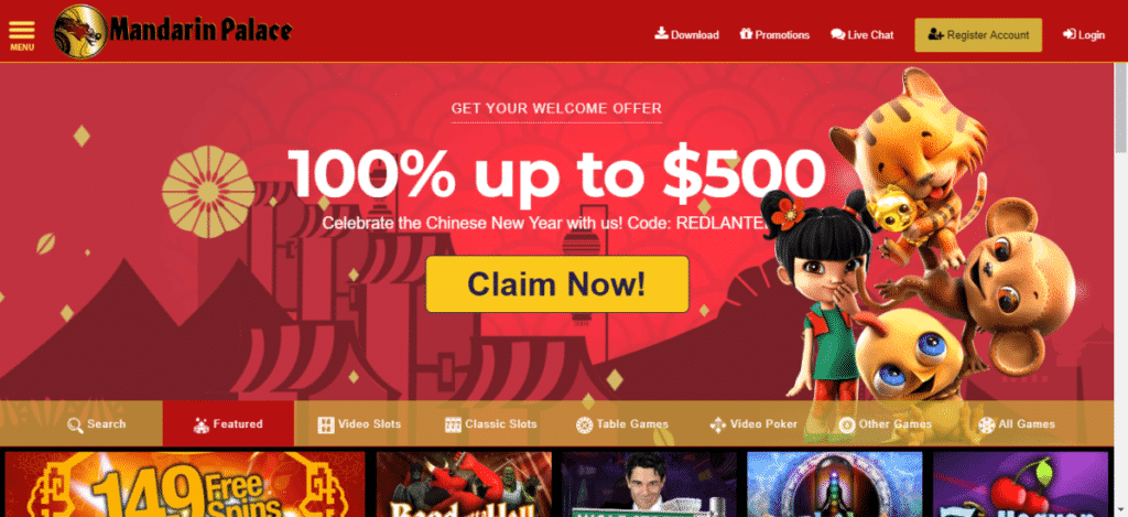 Mandarin Palace Casino 100% Bonus Code September 2017