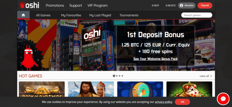 Oshi Casino Bonus Code August 2017