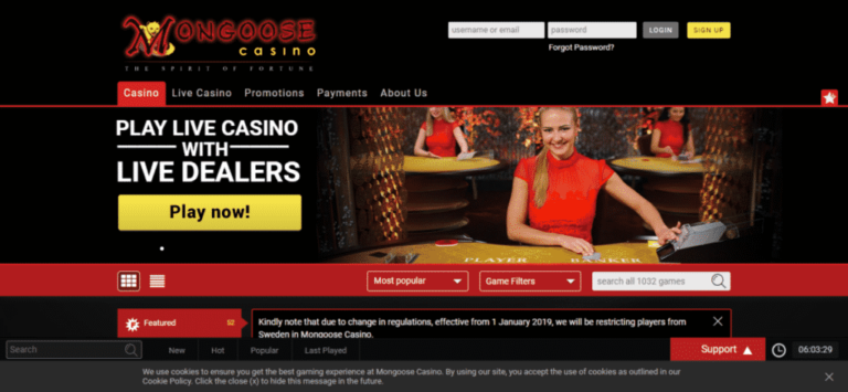 Mongoose Casino Coupon Code Offers January 2021