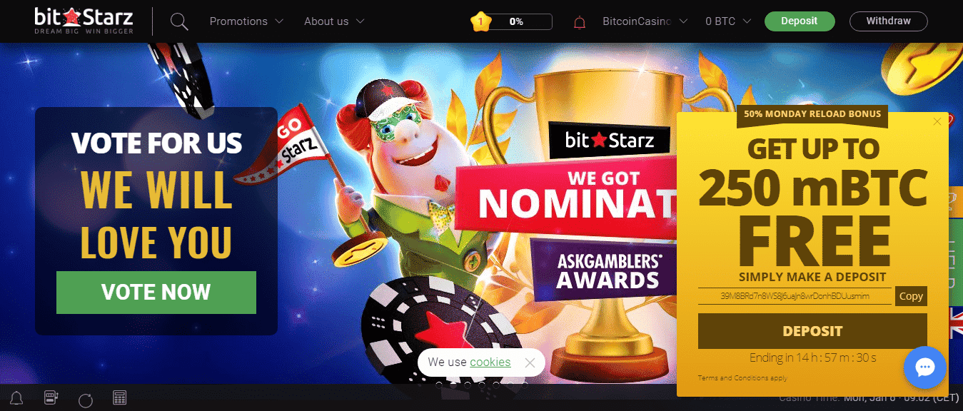 Use the Bitstarz Casino promos to get free spins added to your account when you join this leading bitcoin accepting gambling platform.