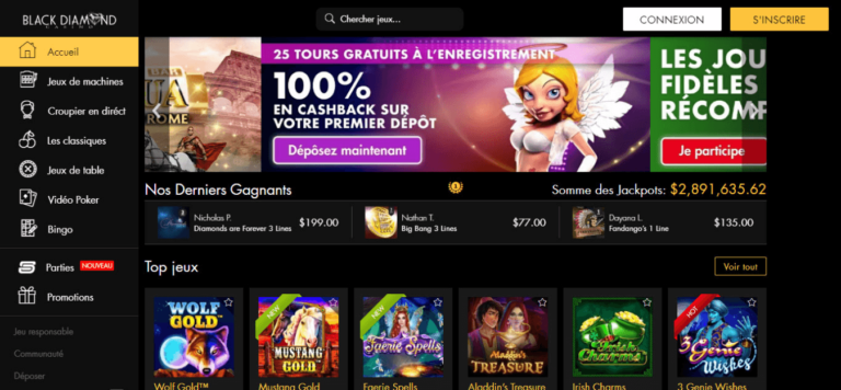 Black Diamond Casino Free Spins Welcome Bonus August 2020