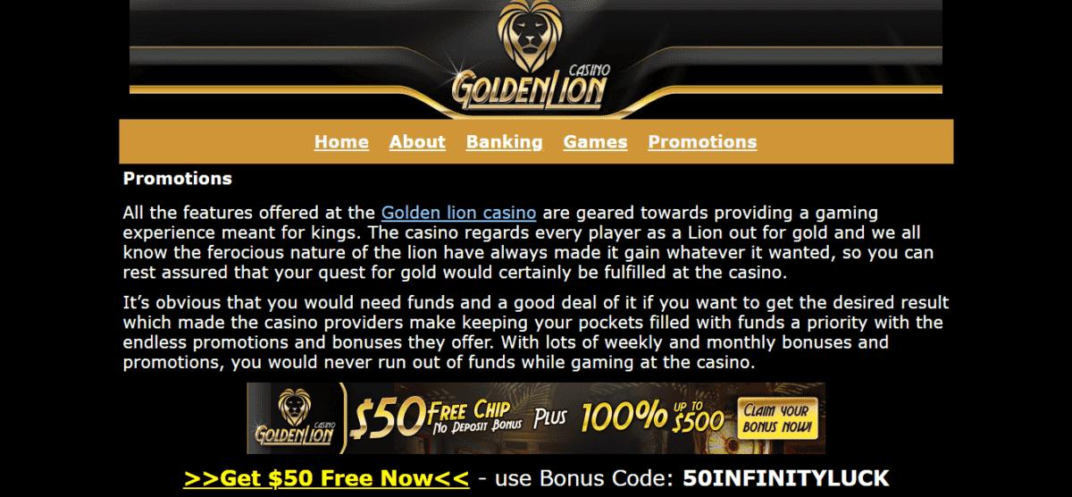 Golden Lion Casino Free Bonus