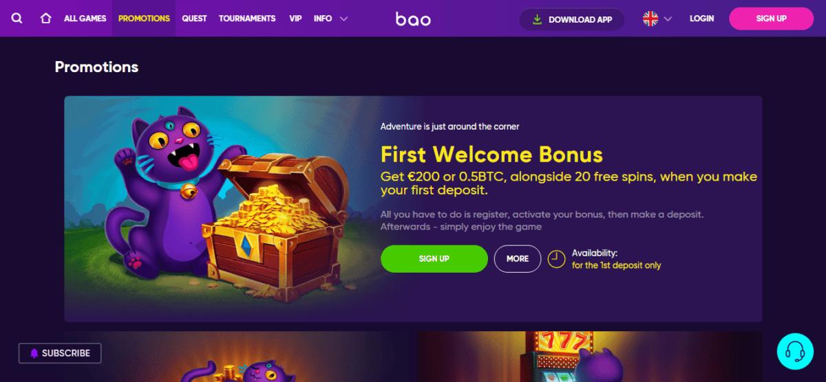 Bao Casino Signup Bonus