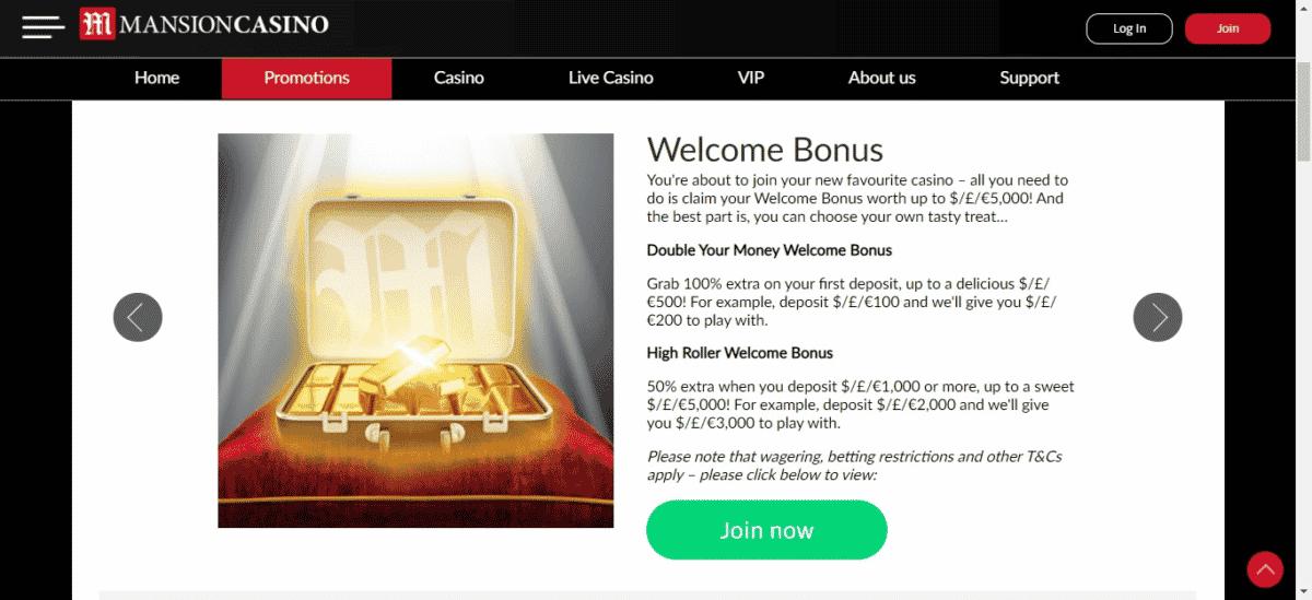 Mansion Casino Free Bonus