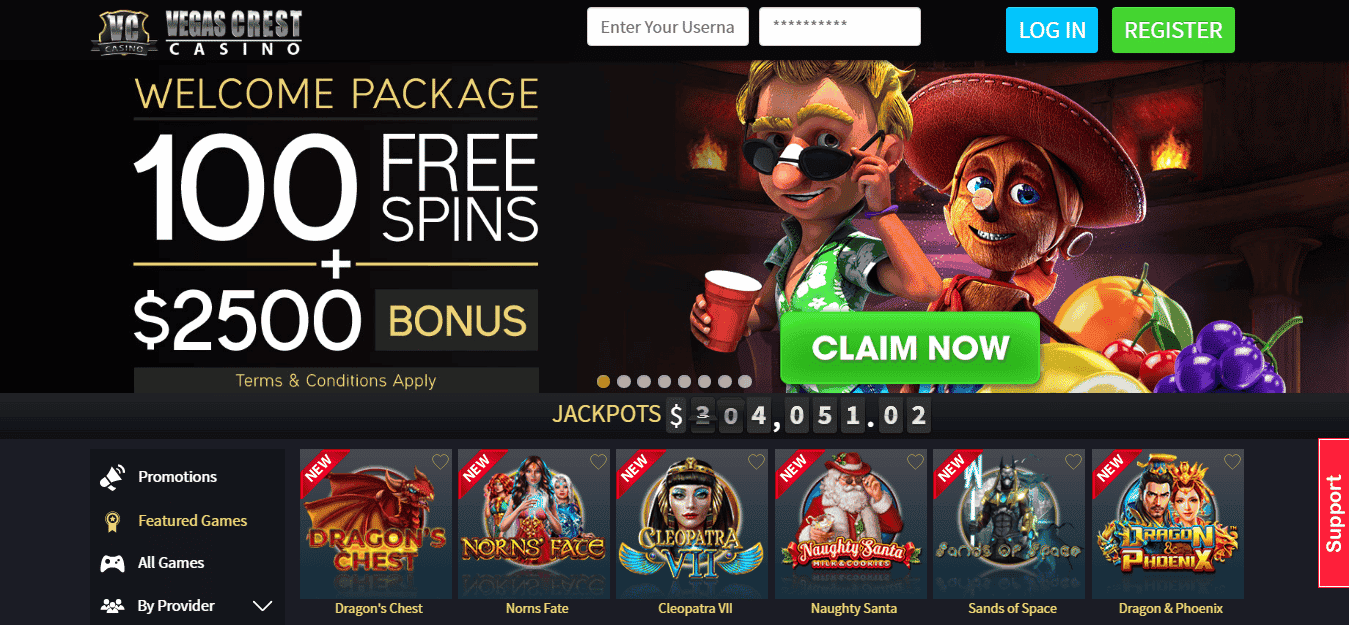 Vegas Crest Casino Promo Codes – Vegascrestcasino.ag Free Spins Bonus – March 2020